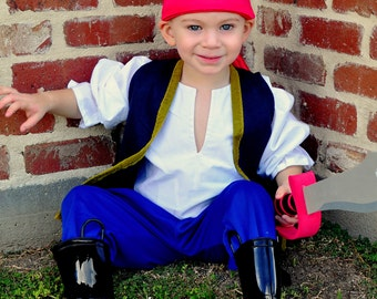Pirate Pirates Boy Halloween Costume Blue Jake and the neverland pirates sizes through 8 years old