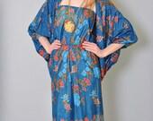 Vintage Floral Dress with Cape 70s Strapless Sun Dress with Caplet Duster XS S Boho Festival Hippie