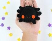 Spider Halloween Keychain - Black and Orange Spider Keyring, Tarantula Keychain, Party Favors, Trick or Treat