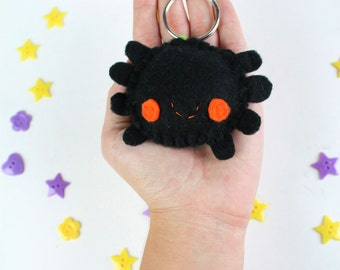 Spider Halloween Keychain - Black and Orange Spider Keyring, Tarantula Keychain, Party Favors, Trick or Treat