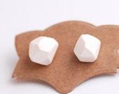 Diamond shape studs white Geometric post earrings