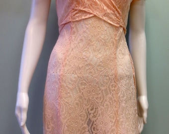Vintage Boho 1980s Pink All That Jazz Lace Dress