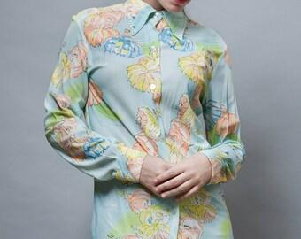 vintage 70s shirt polyester disco blouse print dancers blue S M