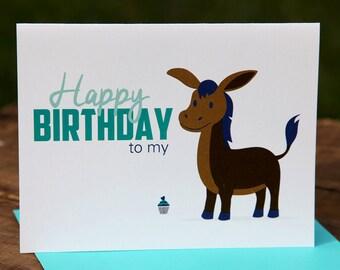 Happy Birthday to my donkey (ass) Birthday Card, Happy, Cupcake, Whale, Blue, Purple, Brown