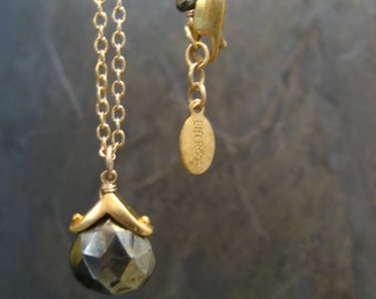 Pyrite briolette necklace - gold filled and sterling silver with 14k gold plating