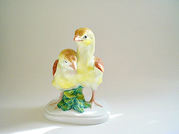 Rare Herend Porcelain Figurine Baby Chicks Natural Yellow Bird Figurine Hungarian