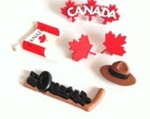 Canada Button Embellishments 6pc