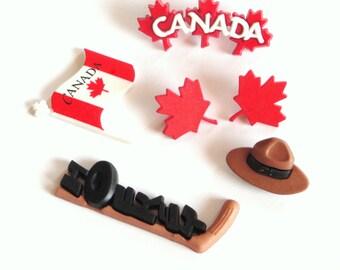 Canada Button Embellishments 6pc