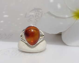 Amber ring size 7 by Larimarandsilver, Sunset Tear - vibrant honey Dominican amber drop, orange amber, maple syrup, AAA amber, handmade ring