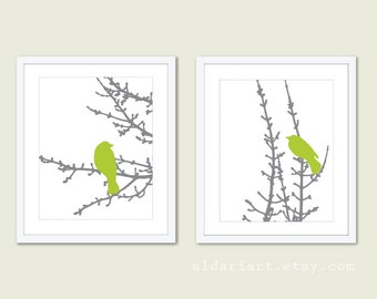 Modern Birds Art Print Set - Green and Grey - Modern Bird Wall Art - Woodland - Bird on Twig Decor