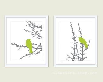 Modern Birds Art Print Set - Green and Grey - Modern Bird Wall Art - Woodland - Bird on Twig Decor