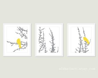 Modern Birds and Branches Art Prints - Set of Three Prints - Yellow Grey And White - Birds on Tree Wall Art - Modern Home Decor - Aldari Art
