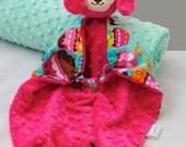 Small Baby Blanket, Pink Puppy Lovey, Security Blanket, Baby Girl, Plush Toy, Sensory Blanket, Teething Toy, Animal Blanket, Blankie, Dog