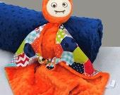 Monster Security Blanket in Orange Minky, Lovey Blankie for a Baby Boy, Nursery Baby Blanket