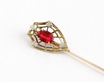 Sale - Antique 10k Yellow White Gold Simulated Ruby Stick Pin - Vintage 1920s 1930s Filigree Spiderweb Floral Flower Two Tone Fine Jewelry