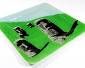 Fused Glass Serving Plate with Easter Island Design