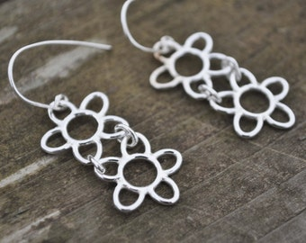 Sterling Silver Earrings 925 Silver Irish Lace Double Flower Handmade Ireland