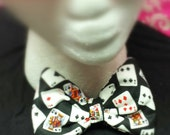 Bowtie - Deck of Cards - Cotton - Metal Bow Tie Clamp - Clip-on - 4.5 inches