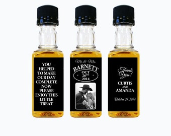 Custom Liquor Mini Bottle Favors Personalized Labels & Empty 50 mL Bottles Alcohol Photo Wedding Favors Engagement Reception Gifts EB-1014