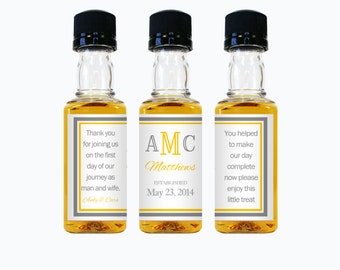 Custom Mini Liquor Bottle Labels Wedding Favors Thank You Rum Vodka Whiskey Whisky Party Favor Rehearsal Reception Engagement Gifts EB-1019