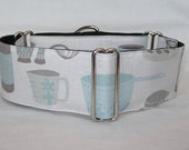 CLEARANCE Cooking Martingale Dog Collar - 1.5 or 2 Inch - pot pan whisk mortar stone classy gray light blue measuring cup foodie baker