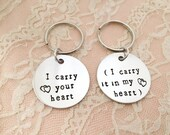I carry your heart.... I carry it in my heart. Set of 2 keychains,  hand stamped