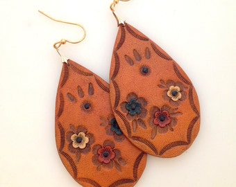 Hand Tooled/Painted Leather Earrings