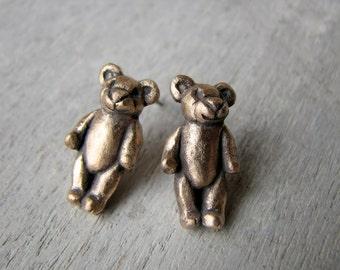 Teddy bear earrings posts