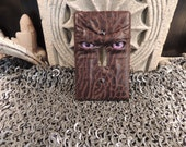 Light switch cover:Brown Leather and Purple Eyes