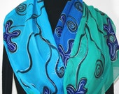 Silk Scarf Hand Painted Chiffon Silk Shawl Blue Teal Turquoise Hand Dyed Silk Scarf OCEAN BLISS Large 14x72 Birthday Gift Scarf Gift-Wrapped