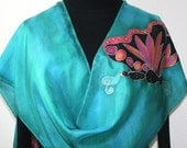Hand Painted Silk Scarf. Teal, Black, Pink Handmade Silk Scarf SILVER BUTTERFLIES, Size 11x60, Birthday Gift, Bridesmaid Gift, Gift-Wrapped