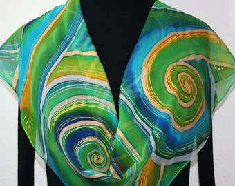 Silk Scarf Hand Painted Chiffon Silk Shawl Teal Lime Turquoise Silk Scarf SPRING JOY Size11x60 Anniversary Gift Birthday Gift Free Gift-Wrap