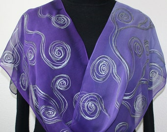 Purple Silk Scarf Lavender Hand Painted Chiffon Silk Shawl Handmade Silk Scarf PURPLE WAVES Size 11x60 Birthday Gift Scarf Gift-Wrapped