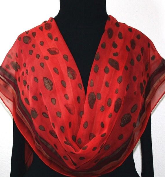Hand Painted Silk Scarf. Brick Red & Merlot Red Handmade Chiffon Silk Scarf, CASABLANCA RAIN.  Size Large 14x70. Birthday Gift. Gift-Wrapped