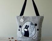 Medium Black and Grey fabric appliqué design tote bag