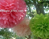 7 Tissue paper pom poms, Wedding decorations, Baby, Bridal shower, Rehearsal, Party decorations. Hanging pom poms. Hanging flower ball