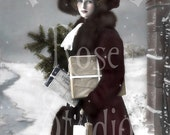 Elissa in the snow-French Postcard-Digital Image Download