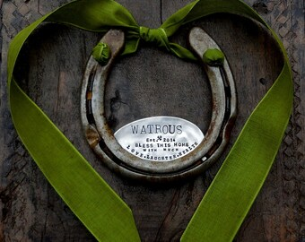 The Love • Laughter • Health Horseshoe™ PERSONALIZED CUSTOM Home Decor. The Handmade Original Design by Sycamore Hill. Rustic Welcome Sign