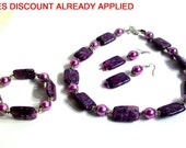 Magenta Marble Necklace Set, Beautiful, Bold, Black Lace Marble, 3 Piece Set, Statement Necklace