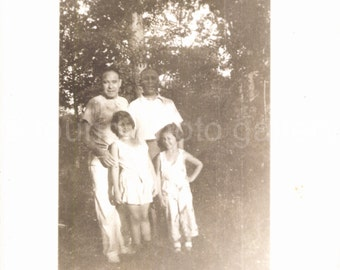Vintage Photo, Two men, Two Girls, Summer 1935, Black & White Photo, Antique Photo, Found Photo, Vernacular Photo, Garden, Woods