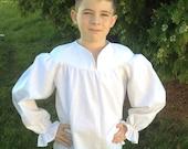 BOYS White Ghillie (9/10, 11/12, or 13/14) Renaissance Pirate Pioneer Theatre Shirt