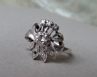 Vintage Retro Mid Century Diamond Bow 'Bouquet' Ring 18K .36 CTS w box