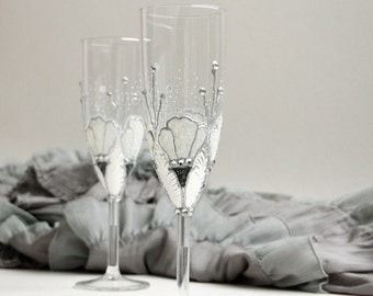 Wedding Glasses, Champagne Toasting Flutes, Hand Painted, Set of 2, Winter Wedding
