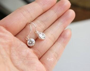 Small Diamond CZ Earrings In Sterling Silver , Simple Dainty Earrings , Silver CZ Earrings , Wedding Jewelry , Bridal Earrings , Minimal