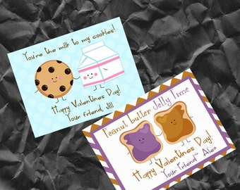 Printable Valentine - Personalized Valentine Cards for Kids- Valentine's Day Cards- School Valentines