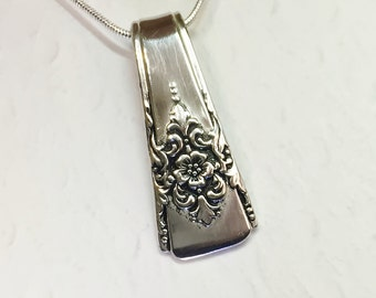 Spoon Necklace, Spoon Pendant, 'Mountain Rose' 1954, Silverware Jewelry