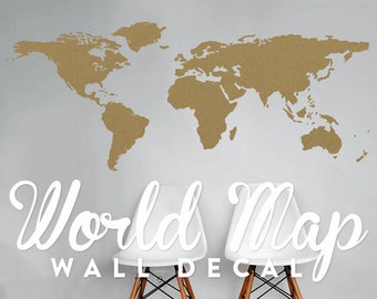 World Map Wall Decal - Travel Wall Decor - Map Wall Sticker - WAL-A127