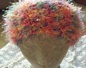 Fluffy and Colorful Hot Pink Crochet Head Band with Elastic Closure