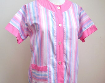 1950s 60s Pink candy striped cotton top, by Sharp Perrin - M