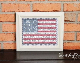 American Flag - United States of America – Playroom Art  -  Geography – Maps – Primary Colors – Fun Map – States – State Names